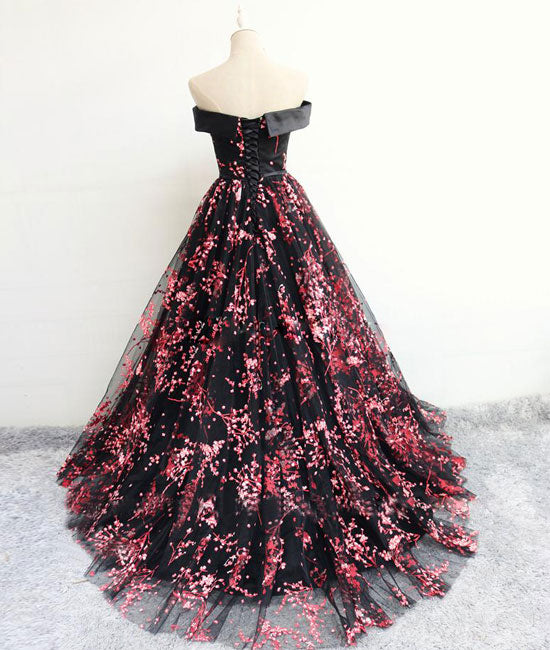 Black tulle lace long prom dress, black evening dress - shdress