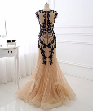 Champagne v neck lace applique mermaid long prom dress - shdress