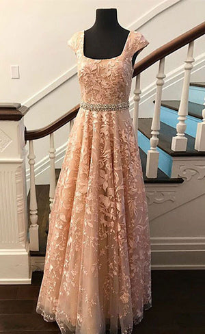 Cute lace champagne prom dress, lace evening dress - shdress