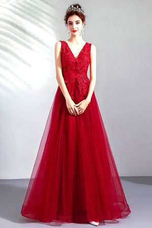 Burgundy v neck tulle lace long prom dress, burgundy evening dress