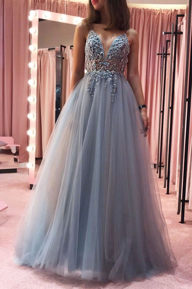 Gray v neck tulle lace long prom dress gray tulle formal dress
