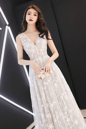 Gray white tulle lace long prom dress, gray tulle evening dress