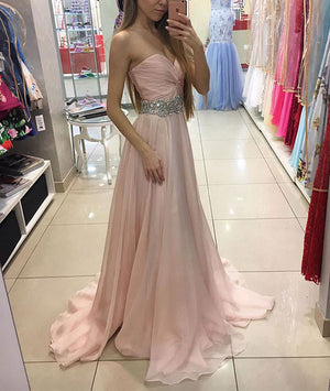 Sweetheart pink chiffon long prom dress, pink formal dress - shdress