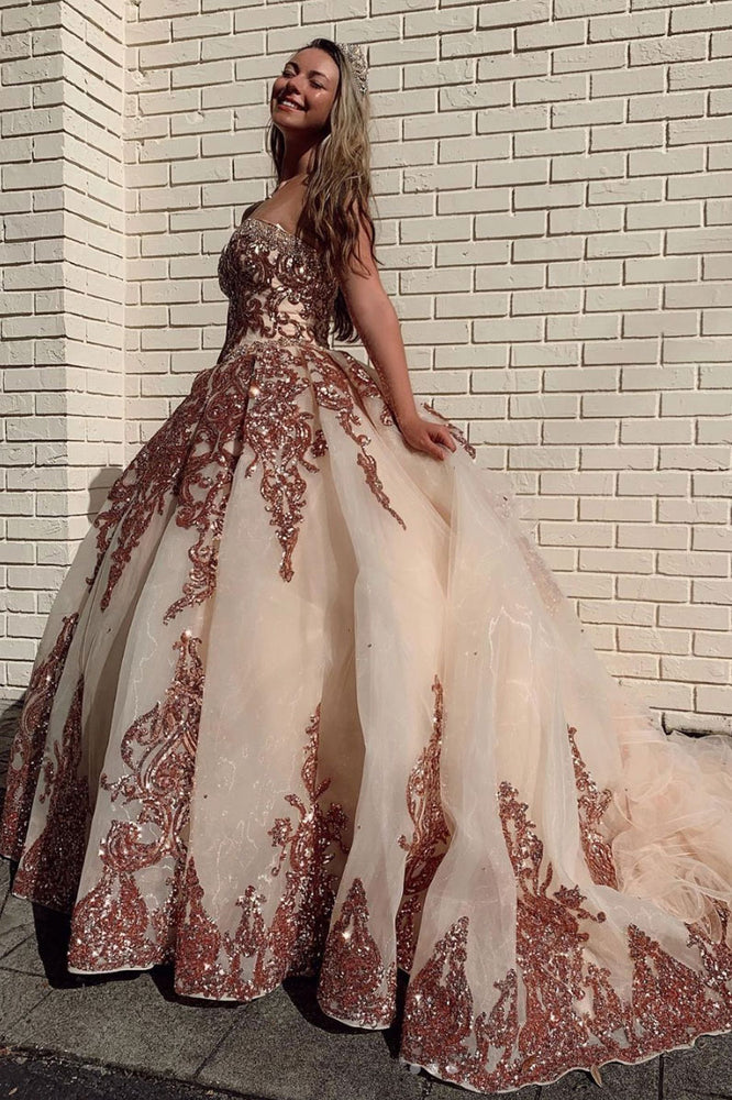 Champagne sweetheart tulle sequin long prom gown evening dress