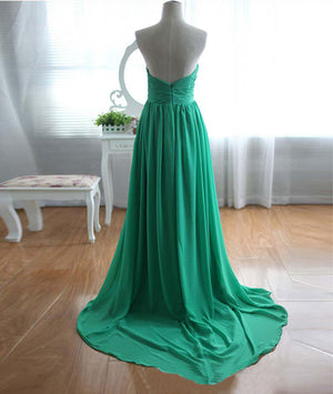 Green A-line sweetheart neck chiffon long prom dress, evening dress - shdress
