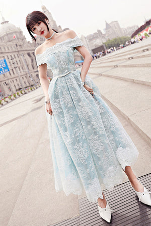 Blue tulle lace tea length prom dress, blue tulle lace evening dress