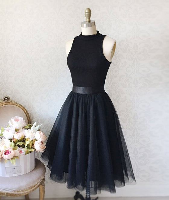 Black tulle simple short prom dress, black homecoming dress