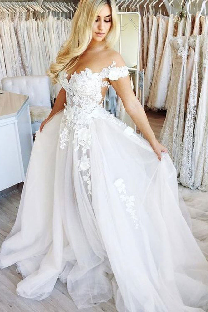 White lace tulle long prom dress, tulle lace formal dress