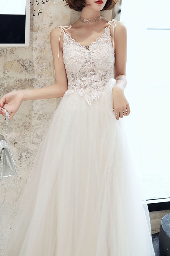 White lace tulle long prom dress white tulle lone evening dress