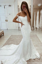White sweetheart satin lace applique mermaid long prom dress