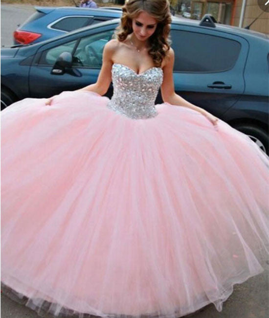 Sweetheart Neck Rhinestone Tulle Long Pink Prom Gown, Evening Dress - shdress