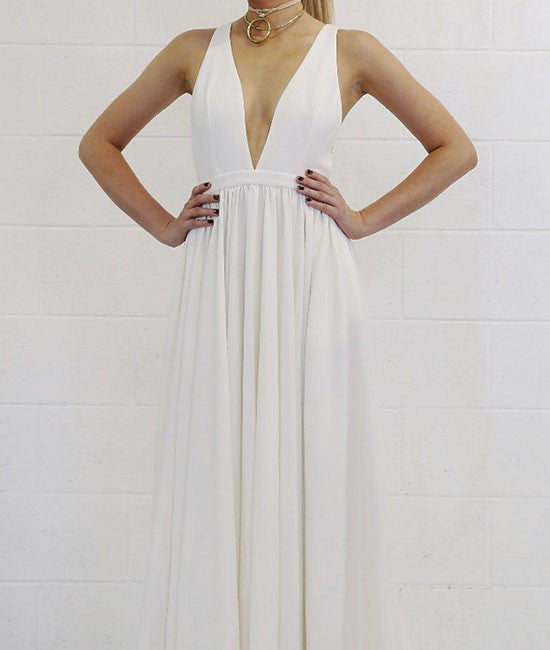 White v neck backless long prom dress, white evening dress - shdress