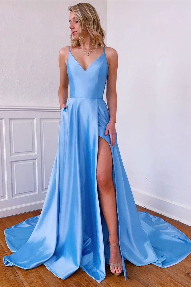 Simple blue v neck satin long prom dress blue formal dress