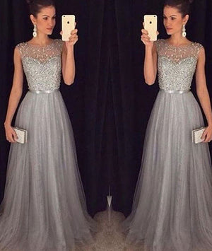 A-line round neck tulle sequin long prom dress for teens, unique evening dress - shdress
