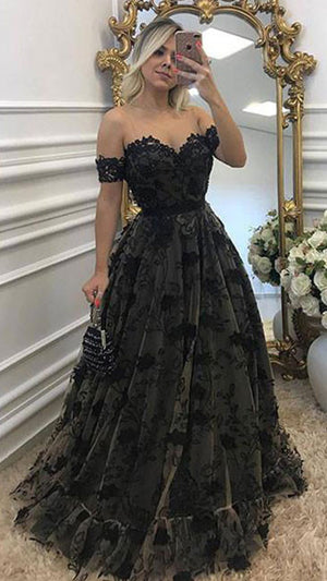Black lace long prom dress, black lace evening dress - shdress