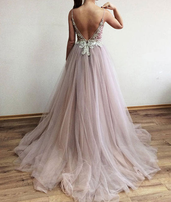 Unique v neck beads tulle long prom dress, evening dress - shdress