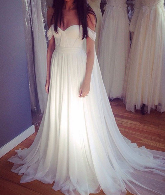 White off shoulder chiffon long prom dress, white bridesmaid dress