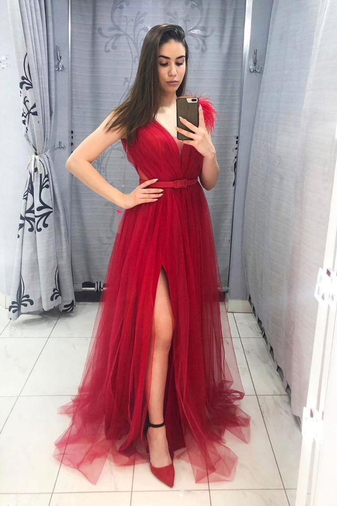 Burgundy v neck tulle long prom dress burgundy formal dress