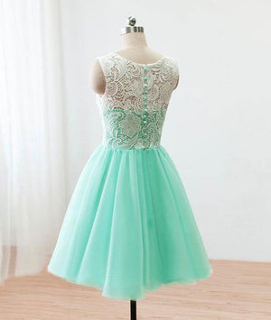 Cute Round neck lace tulle short green prom dress, bridesmaid dress - shdress
