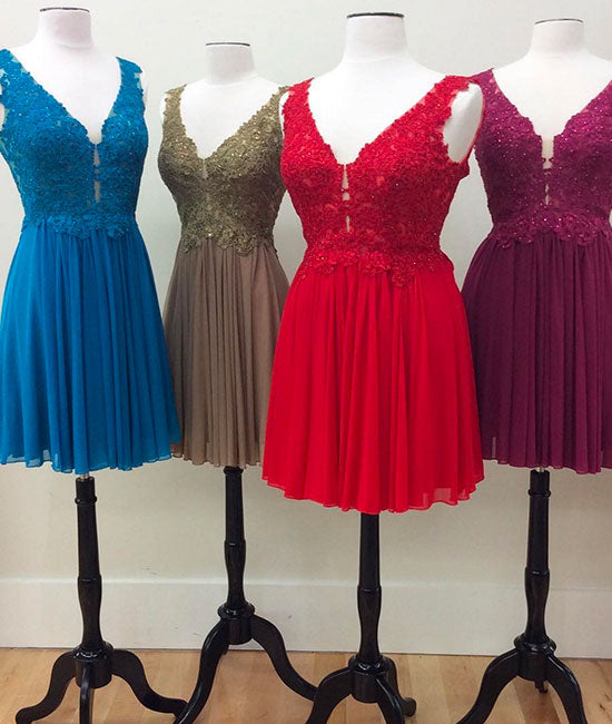 A-line v neck lace chiffon short prom dress, lace homecoming dress - shdress