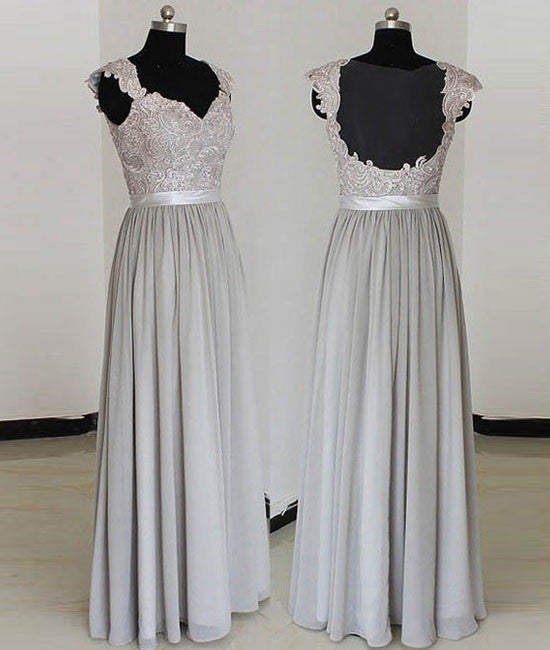 A-line gray long prom dress, gray lace bridesmaid dress