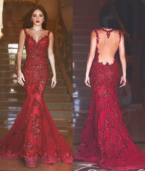 Red lace sequin long mermaid long prom dress, formal dress - shdress