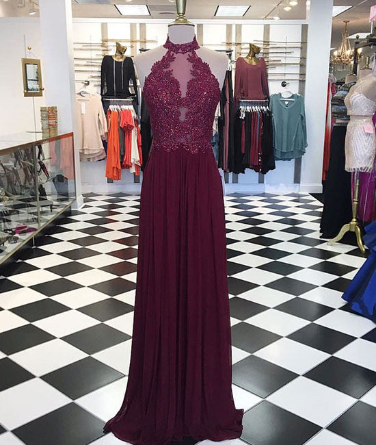 Maroon hight neck lace long prom dress, maroon evening dress