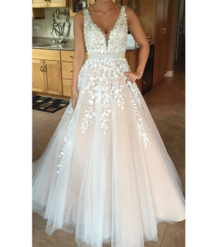 custom made v neck lace tulle long prom dress, formal dress - shdress