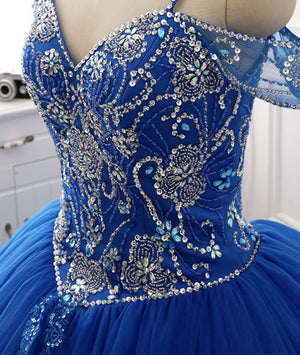 Blue sweetheart beads sequin long prom gown, blue evening dress - shdress