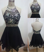 Backless black Short Prom Dresses, Cute Homecoming Dresses