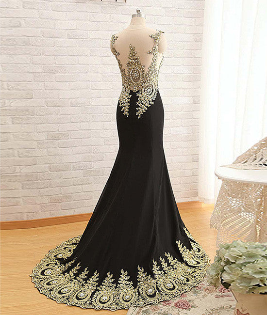 Black Round Neck Lace Applique long Prom Dress, Black Evening Dress