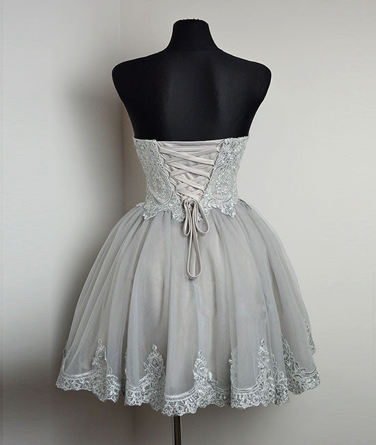 Cute gray tulle lace short prom dress 78ebfaf356d6