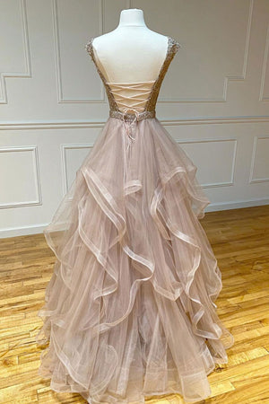 Champagne round neck tulle lace long prom dress evening dress