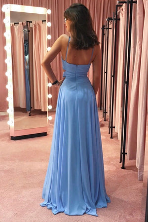 Blue chiffon long prom dress blue chiffon evening dress