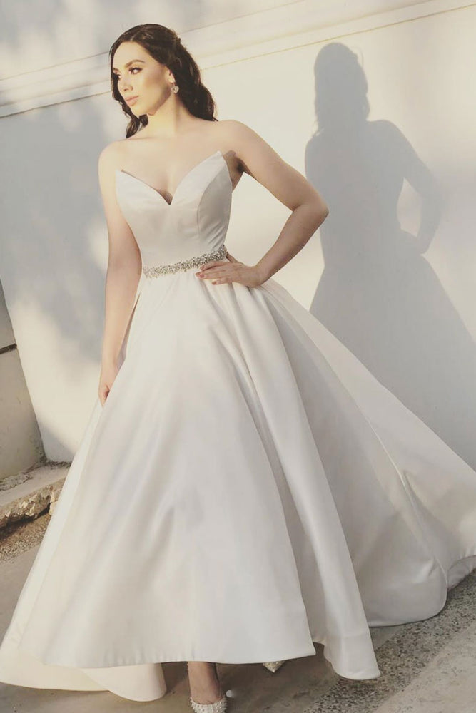 White sweetheart satin tea Length prom dress, bridesmaid dress