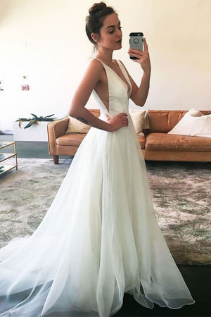 Simple v neck tulle long prom dress, white evening dress