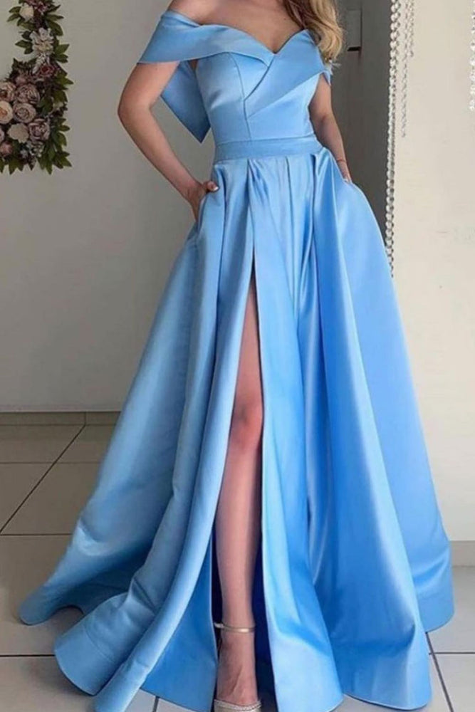 Simple off shoulder satin long blue prom dress, blue evening dress