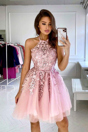 champagne tulle lace short prom dress lace cocktail dress