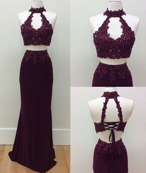 Unique two pieces lace applique long prom dress, lace evening dress - shdress