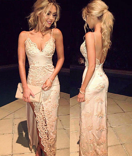 Unique v neck backless lace long prom dress, evening dress