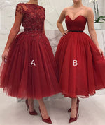 Cute burgundy tulle short prom dress, burgundy evening dress