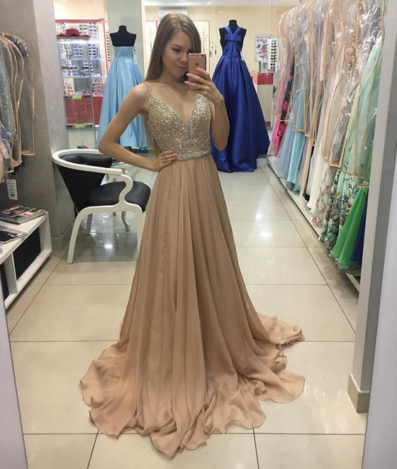 Champagne chiffon sequin long prom dress, champagne evening dress