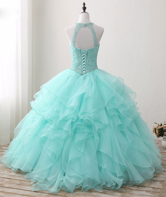 Cute green round neck tulle beads long prom dress 45c16f418