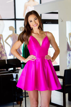 Simple v neck satin short prom dress, homecoming dress