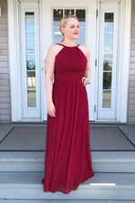 Burgundy chiffon long prom dress, burgundy bridesmaid dress