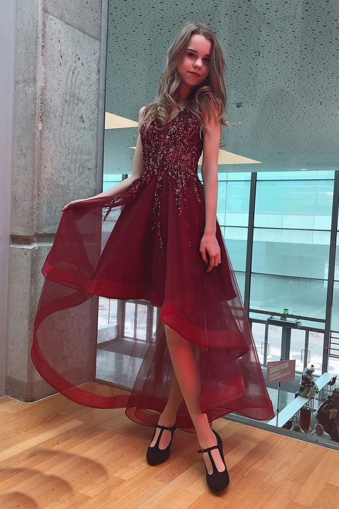 Burgundy v neck tulle beads short prom dress, burgundy evening dress