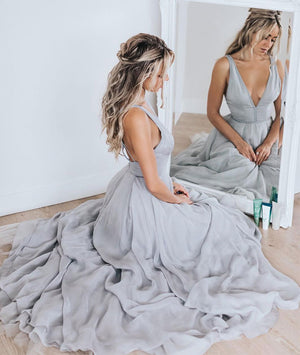 Simple v neck gray chiffon long prom dress, gray evening dress - shdress