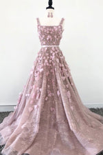 Pink tulle beads 3D applique long prom dress, tulle evening dress