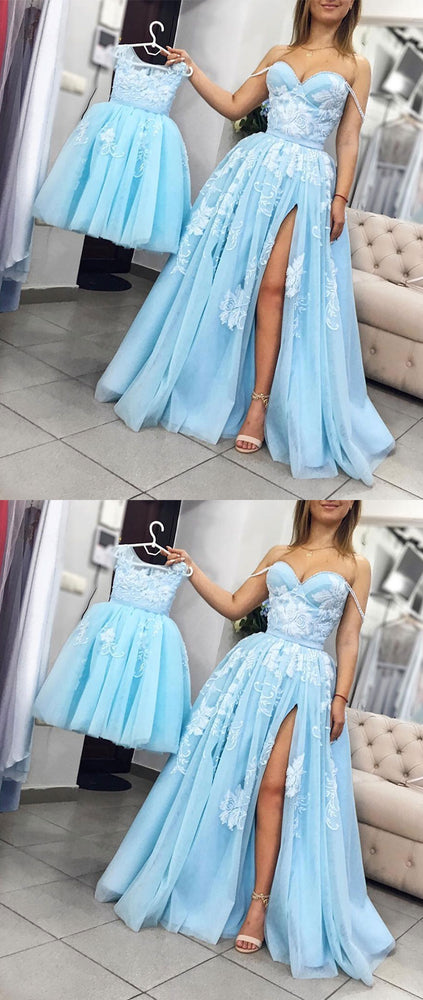Blue tulle lace long prom dress, blue tulle lace evening dress - shdress