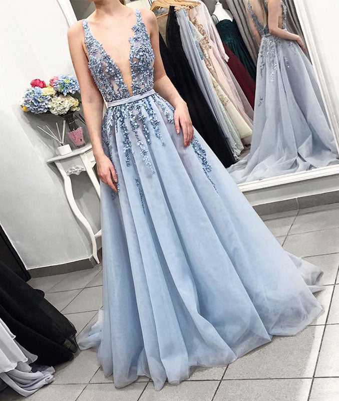 Blue v neck tulle lace long prom dress, blue tulle formal dress